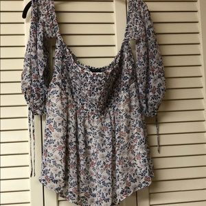 Floral off the shoulder smocked blouse